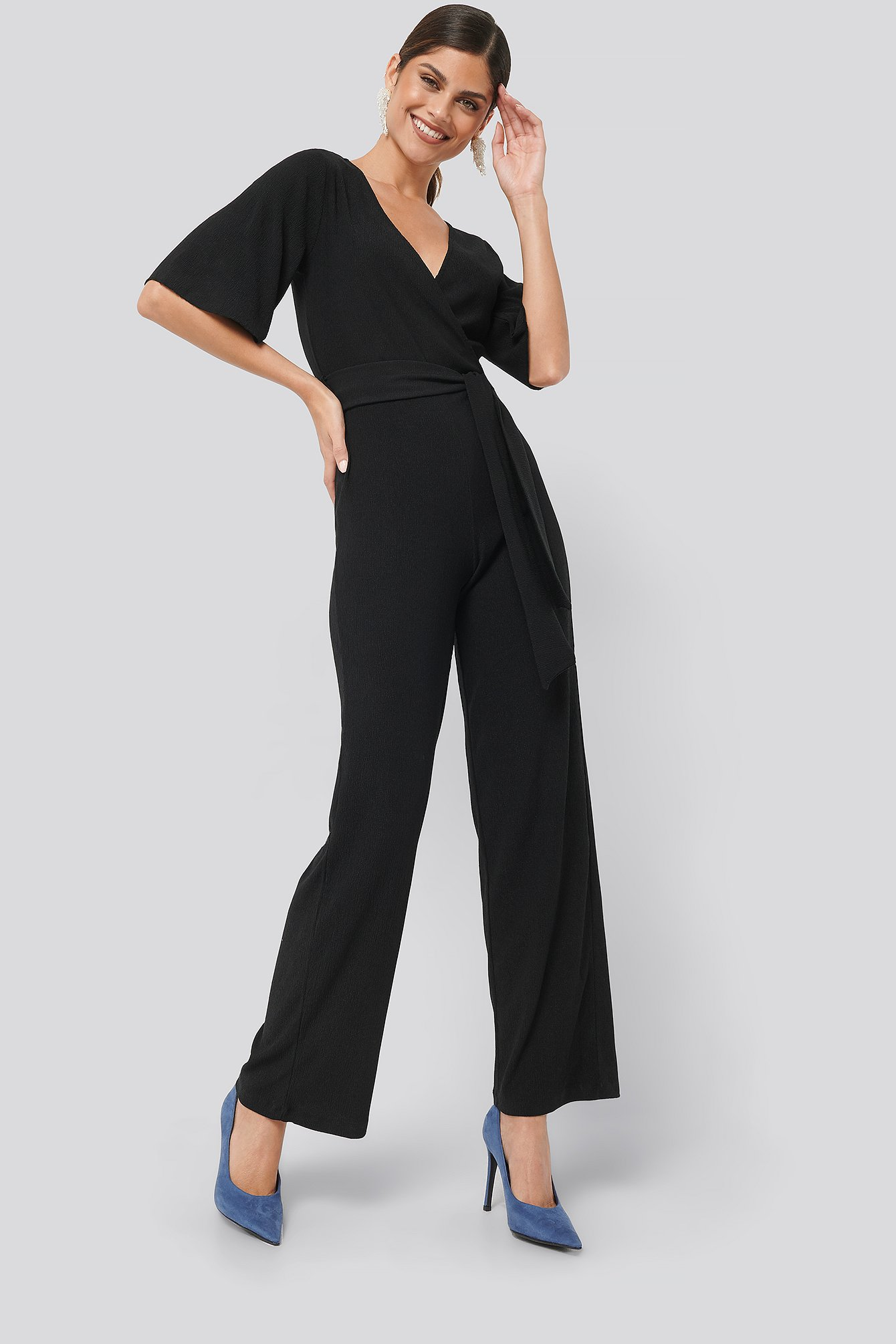 Black Wrap Front Jersey Jumpsuit