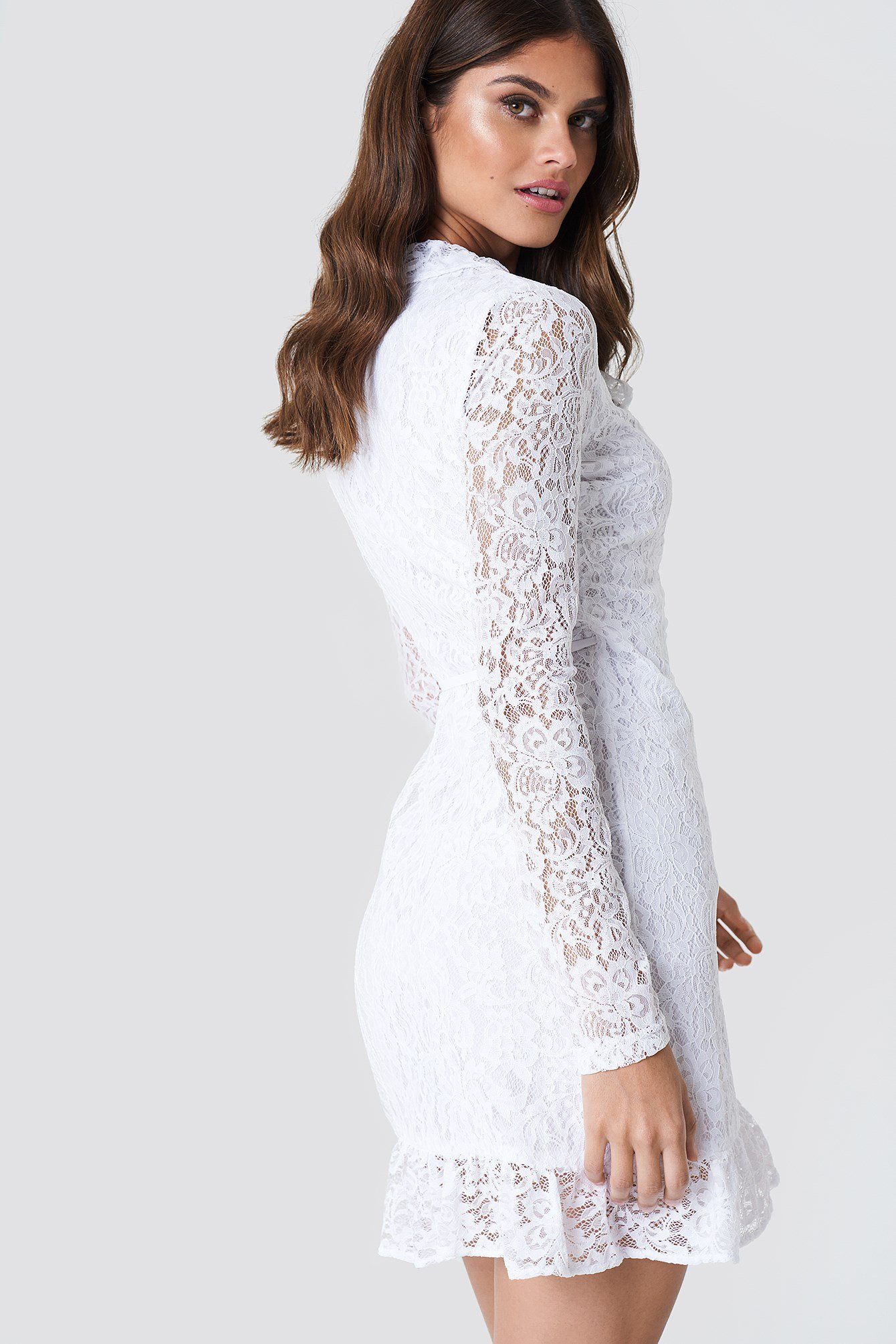 Wrap Front Lace Dress NA-KD.COM