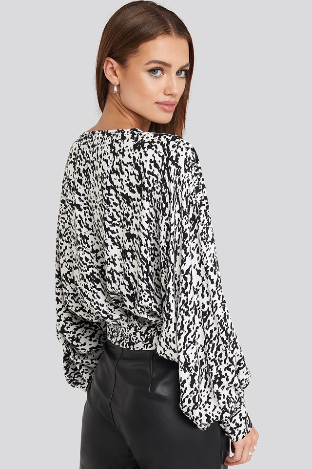 Wrap Front Leopard Print Blouse Leopard