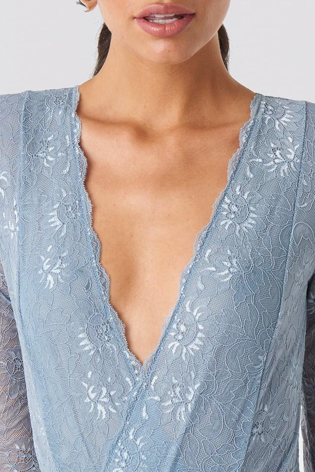 Wrap Front LS Lace Bodysuit Powder Blue