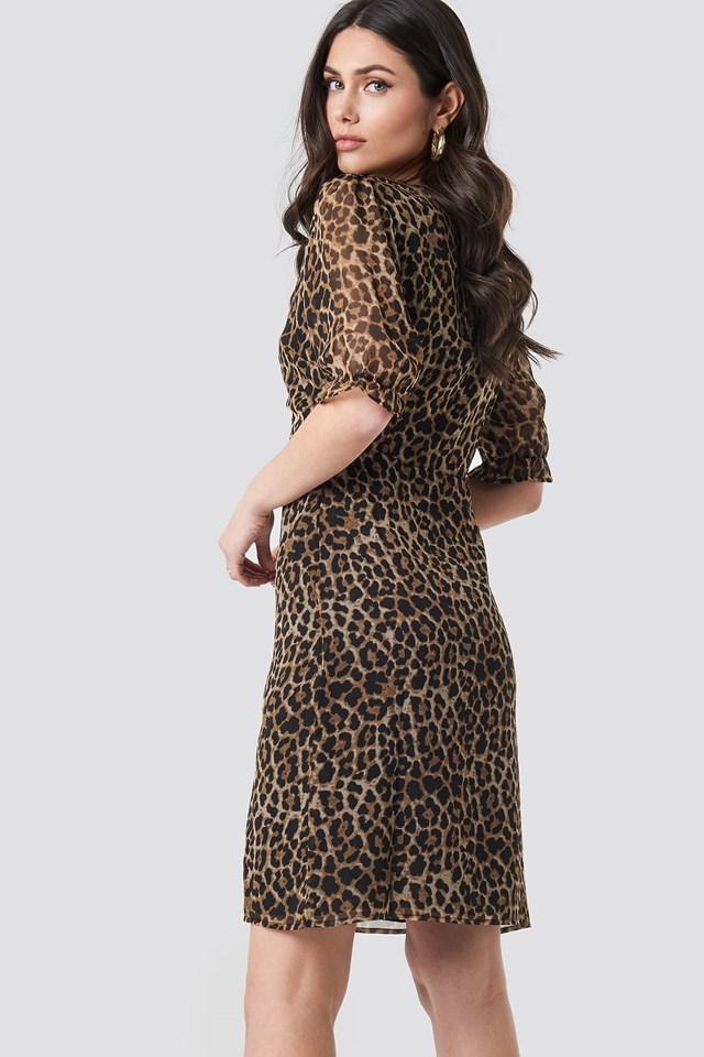 Wrap Front Slit Detail Dress Leoprint