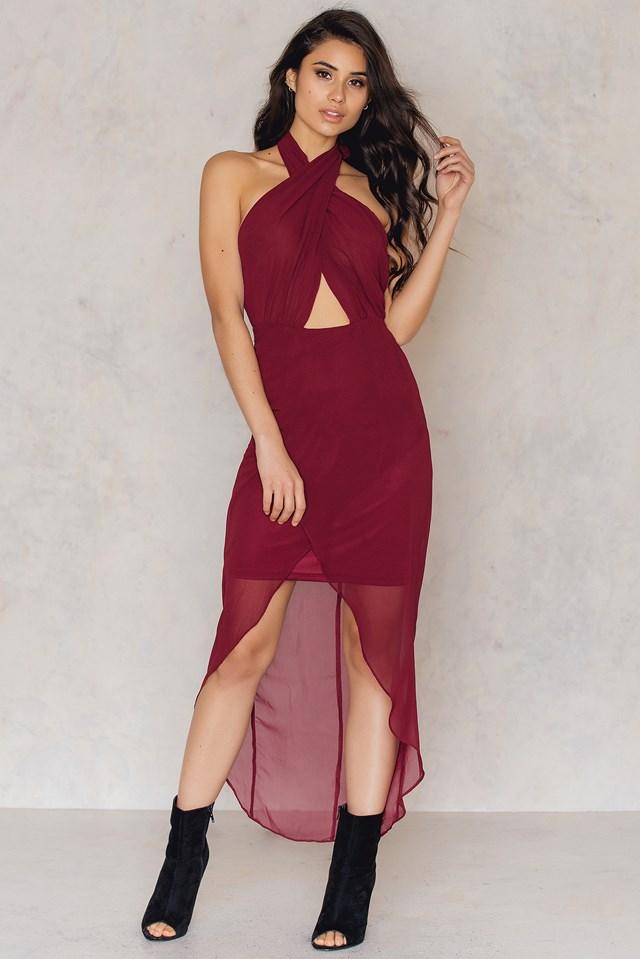Wrap Halterneck Midi Dress Burgundy