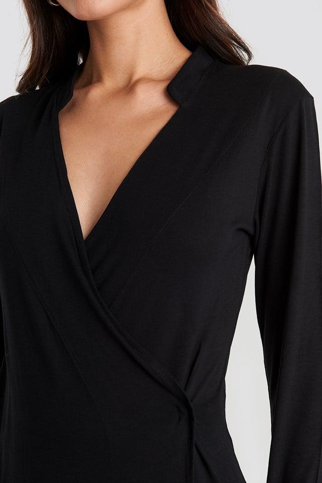 Wrap Jersey Long Sleeve Top Deep Black