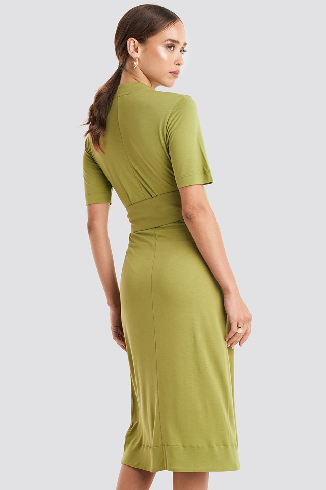 Wrap Jersey Midi Dress Green