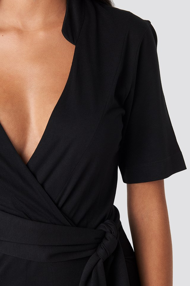 Wrap Jersey Midi Dress Deep Black