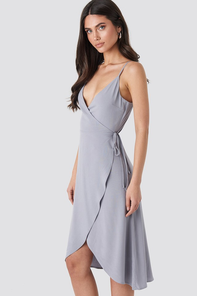 Wrap Midi Dress Grey