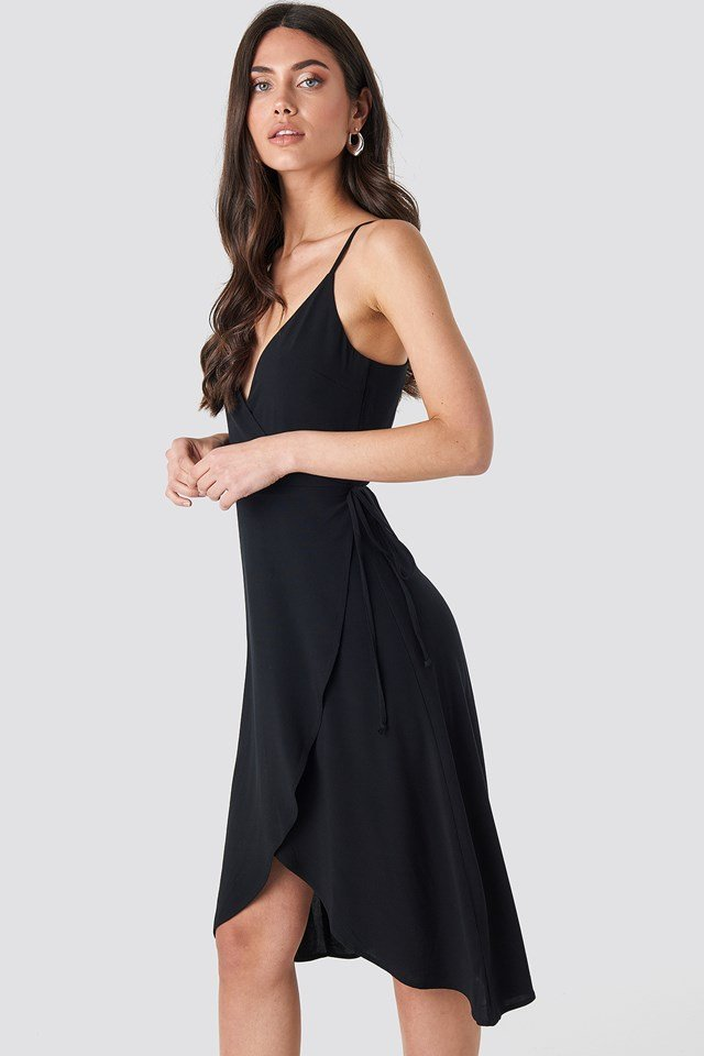 Wrap Midi Dress Deep Black