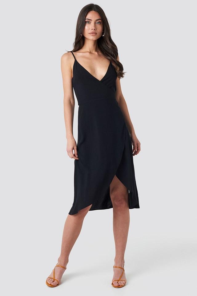 Wrap Midi Dress Deep Black