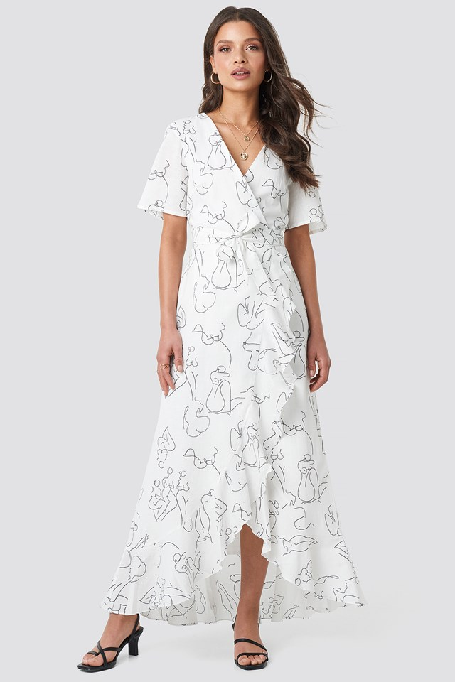Wrap Midi Dress Off White
