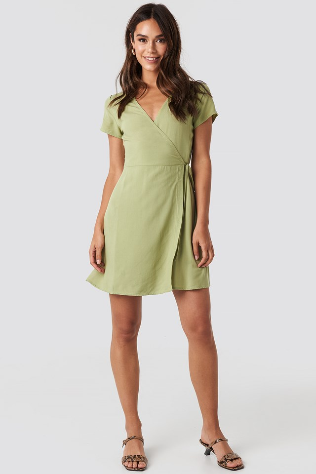 Wrap Mini Dress Khaki