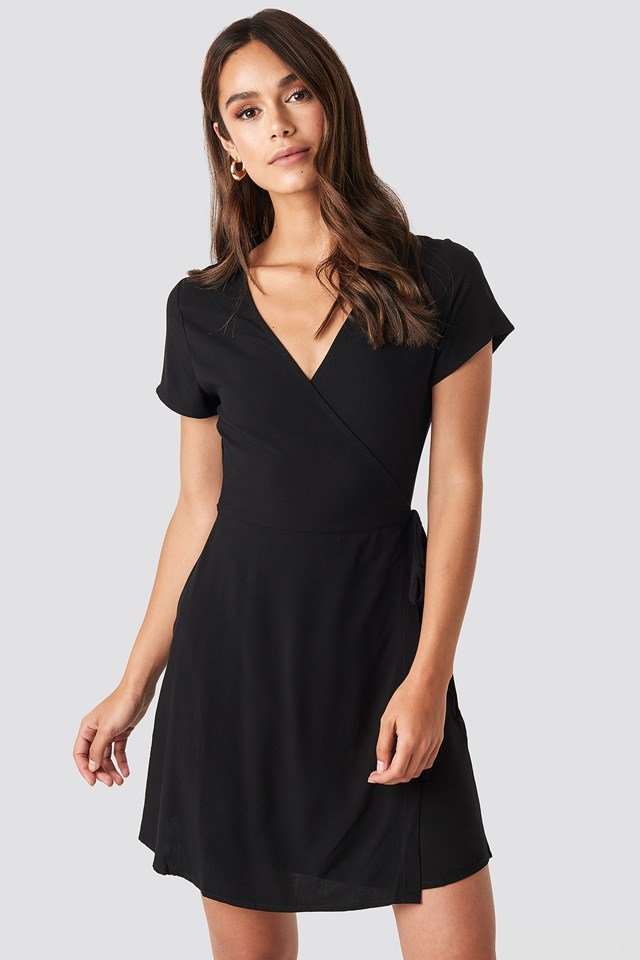 Wrap Mini Dress Deep Black