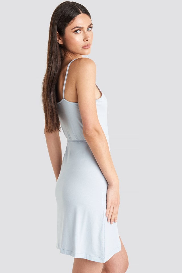 Wrap Mini Dress Pale Blue
