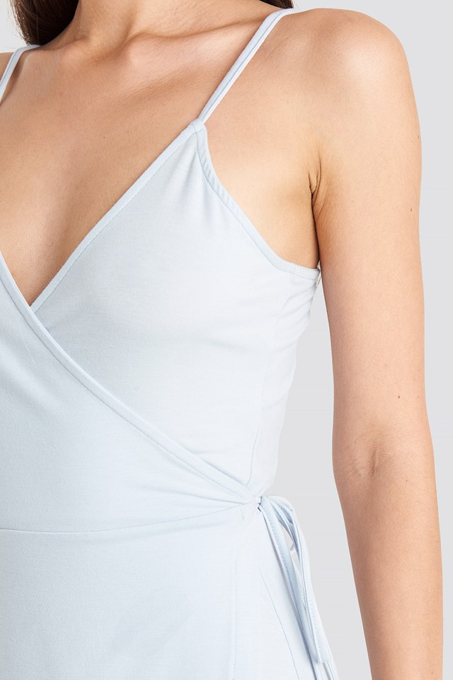 Wrap Mini Dress Pale Blue