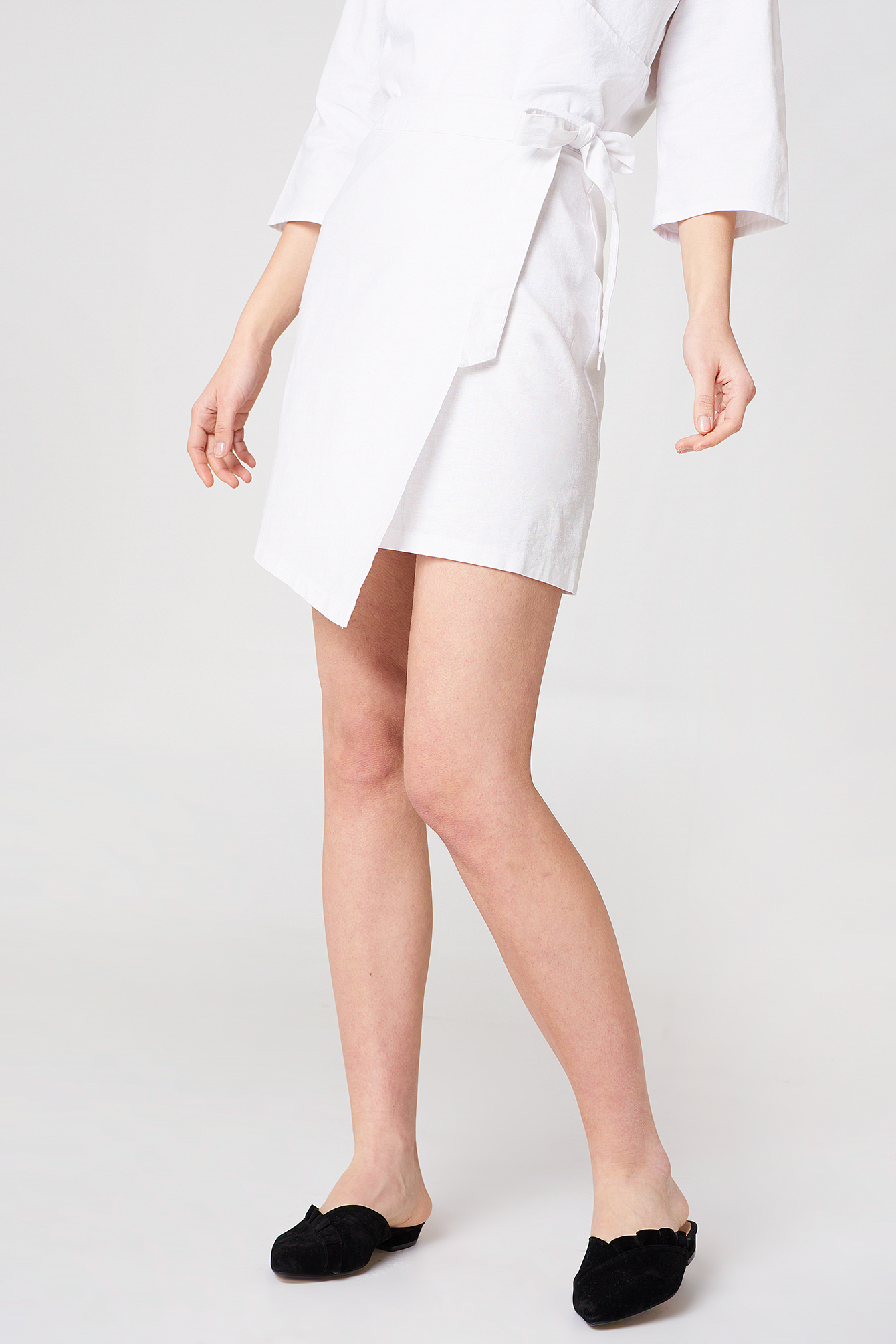 White Wrap Mini Linen Look Skirt