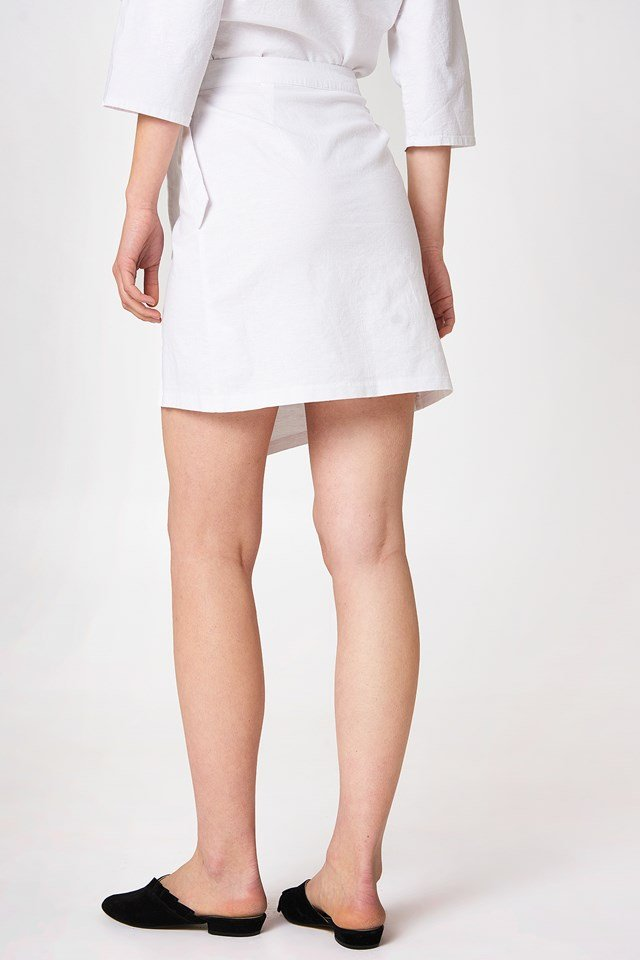 Wrap Mini Linen Look Skirt White