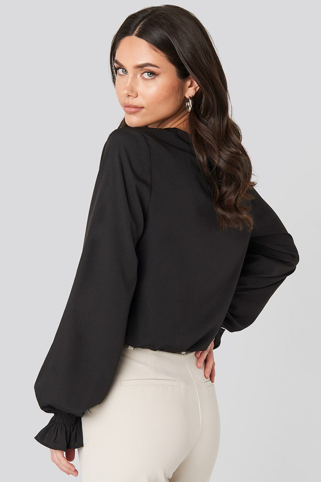 Wrap Over Blouse Black