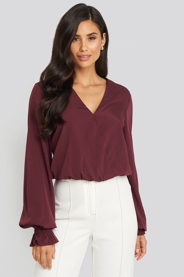 Wrap Over Blouse Burgundy