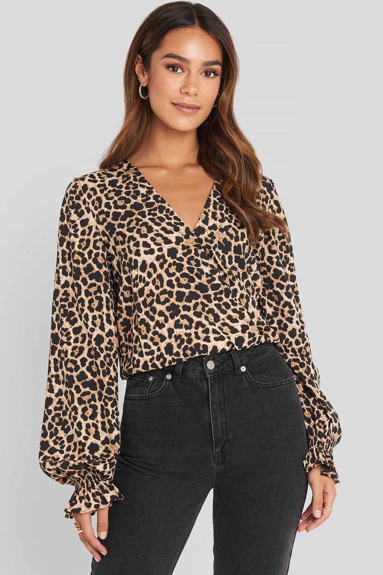 Leoprint Wrap Over Blouse