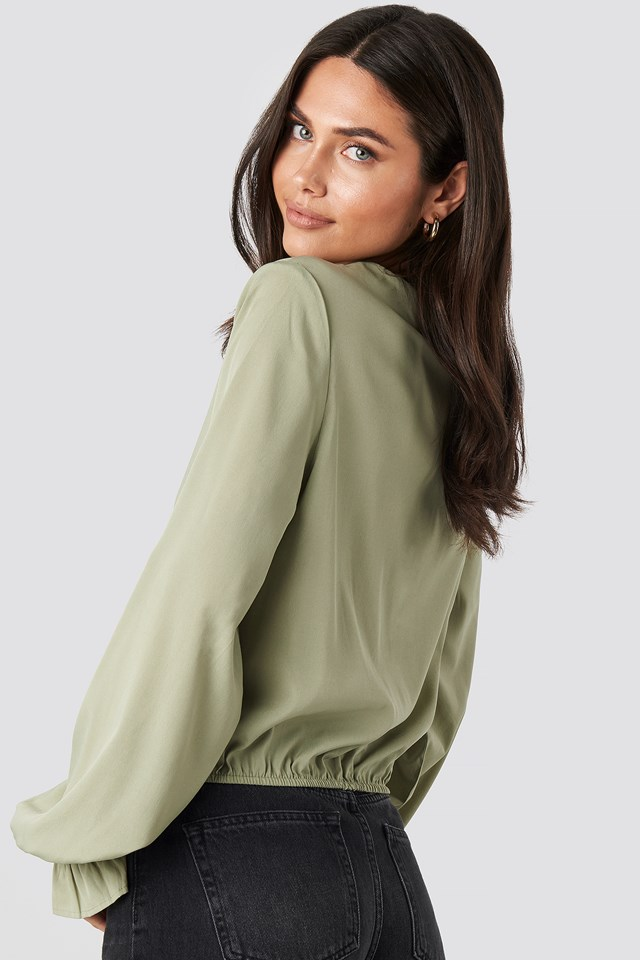 Wrap Over Blouse Light Khaki