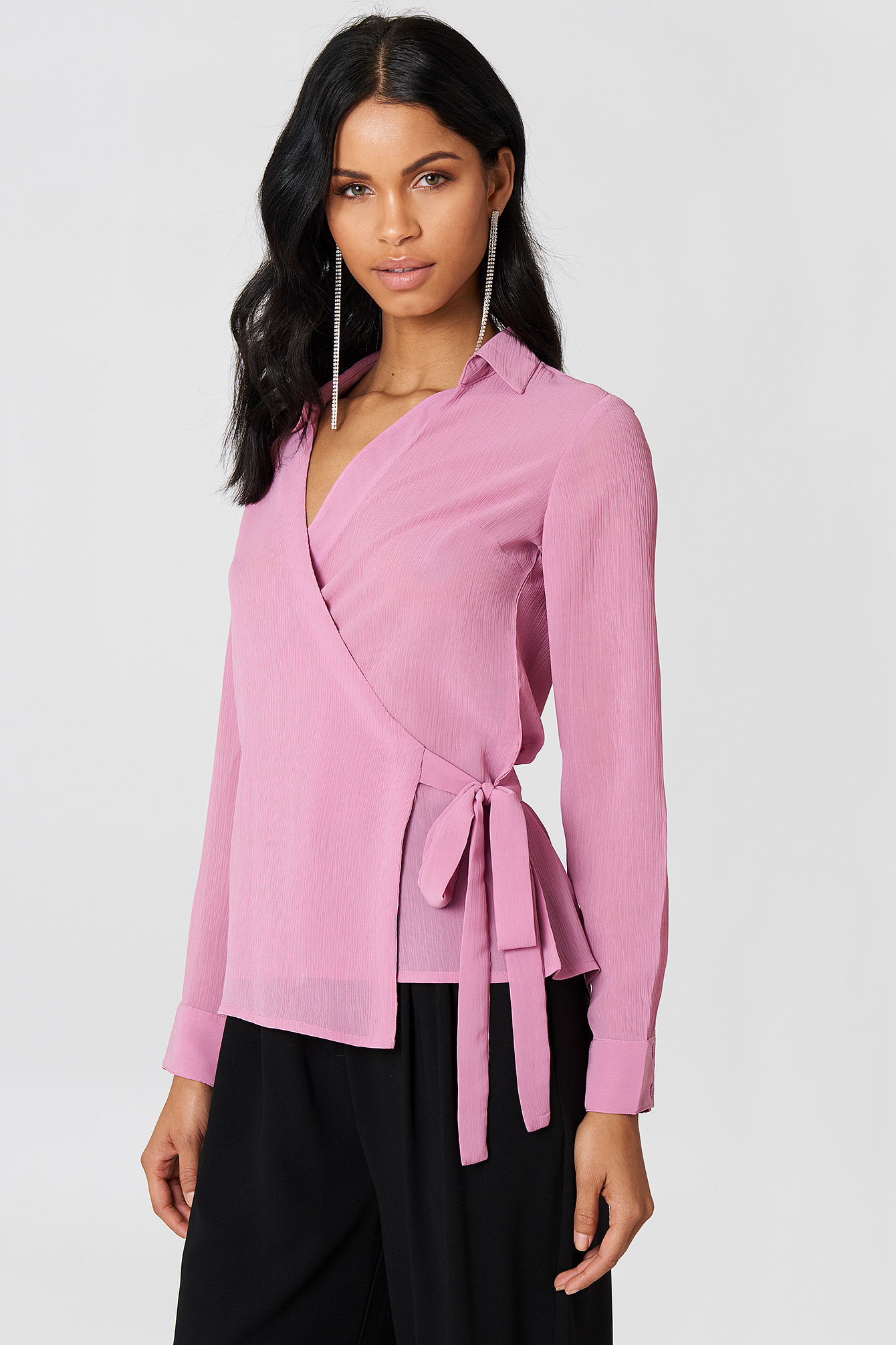 Wrap Over Chiffon Shirt NA-KD.COM