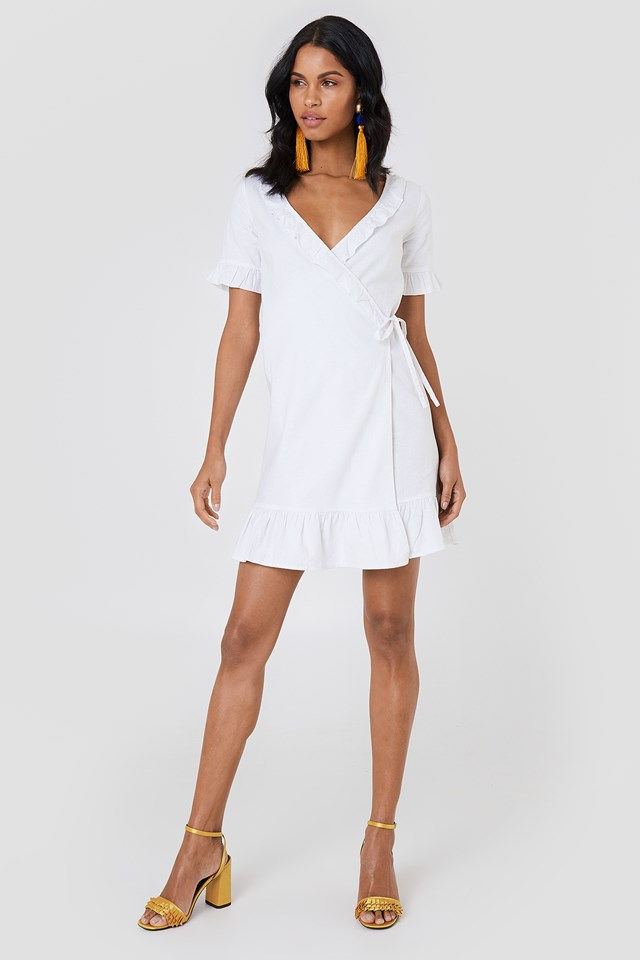 Wrap Over Frill Linen Look Dress White
