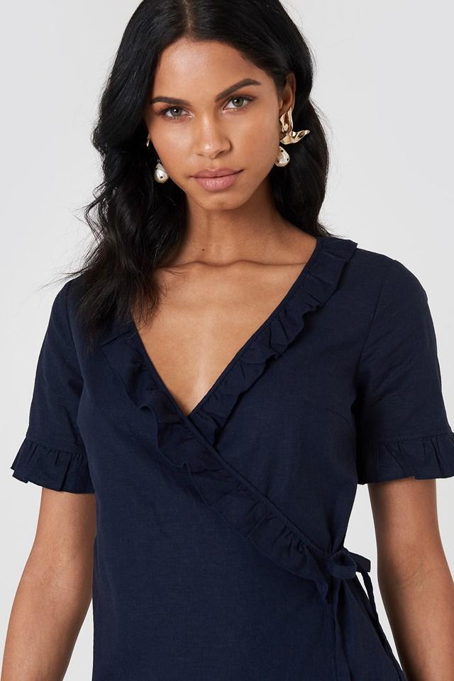 Wrap Over Frill Linen Look Dress Dark Blue