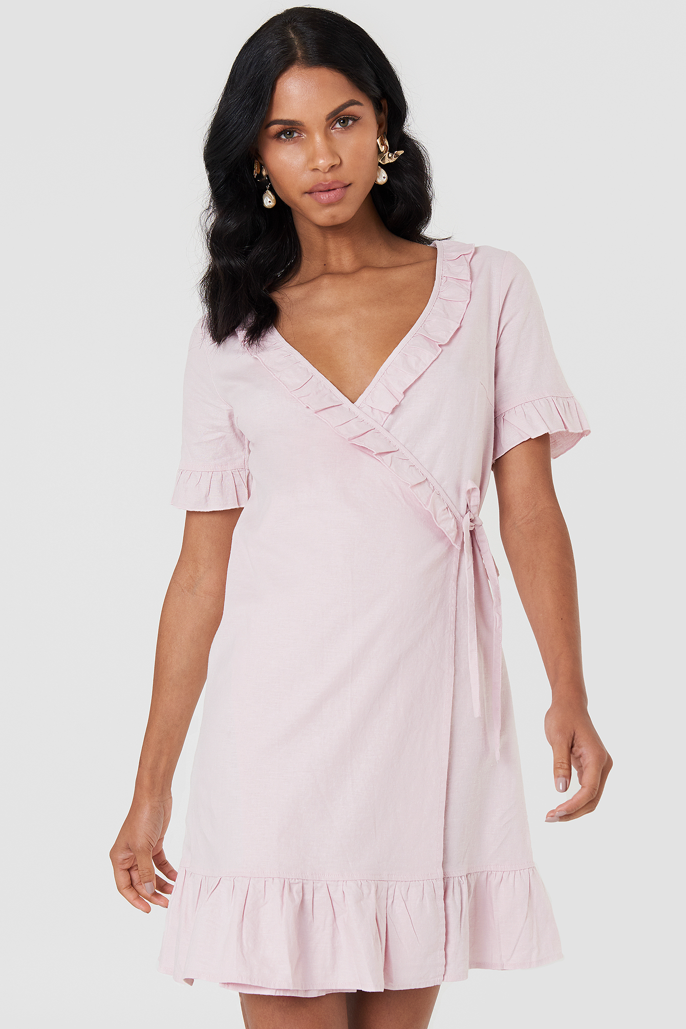 Wrap Over Frill Linen Look Dress NA-KD.COM