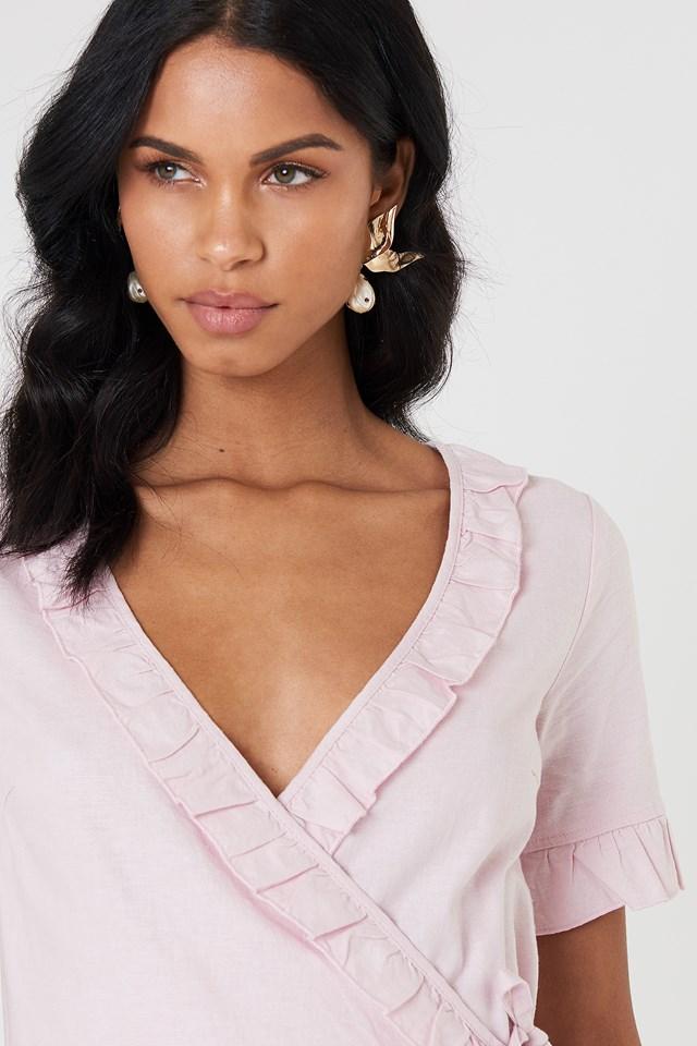 Wrap Over Frill Linen Look Dress Light Pink