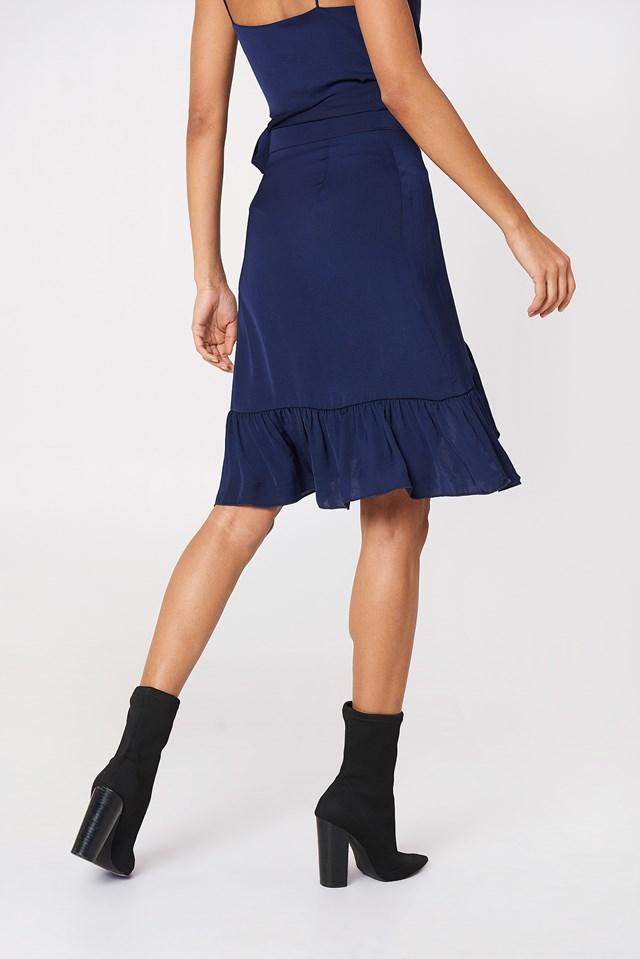 Wrap Over Frill Skirt Dark Blue