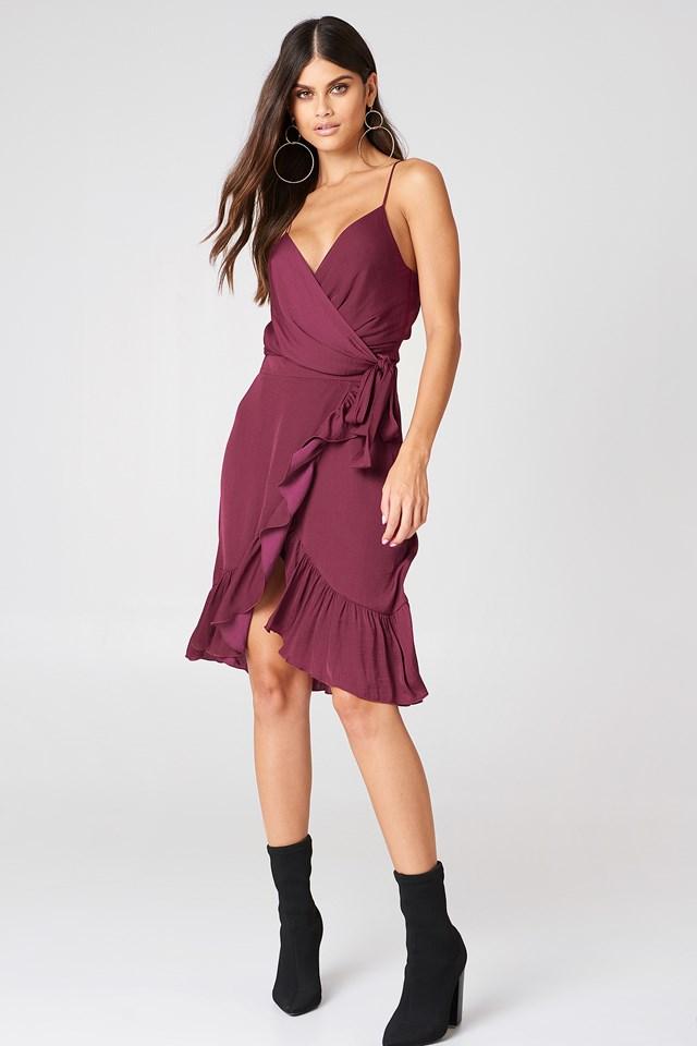Wrap Over Frill Skirt Burgundy