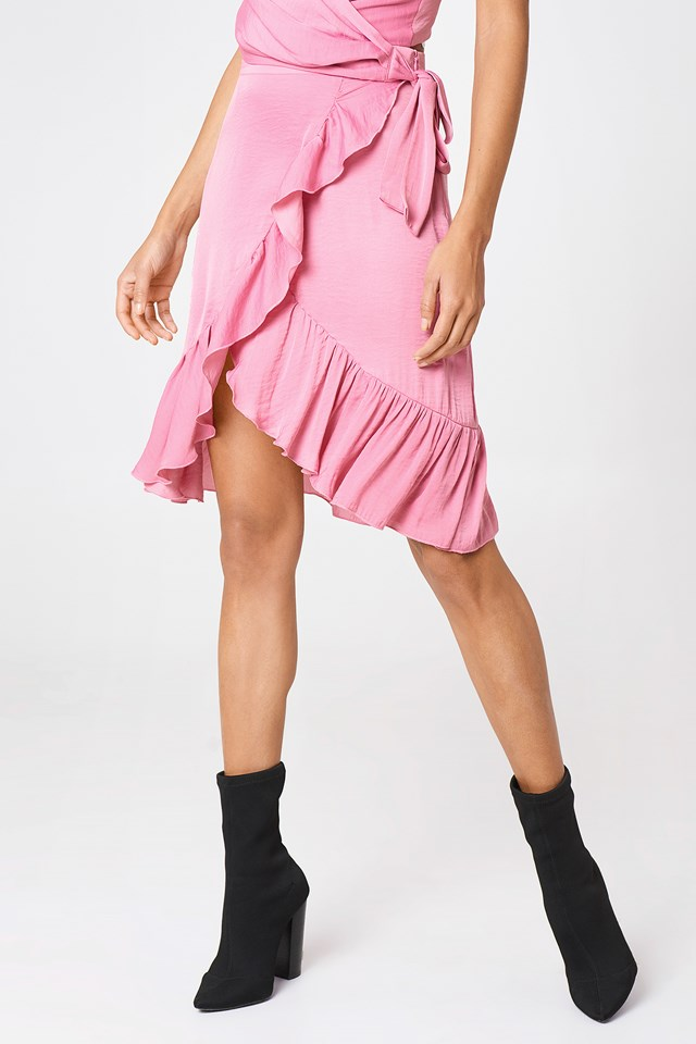 Wrap Over Frill Skirt Ballet Pink