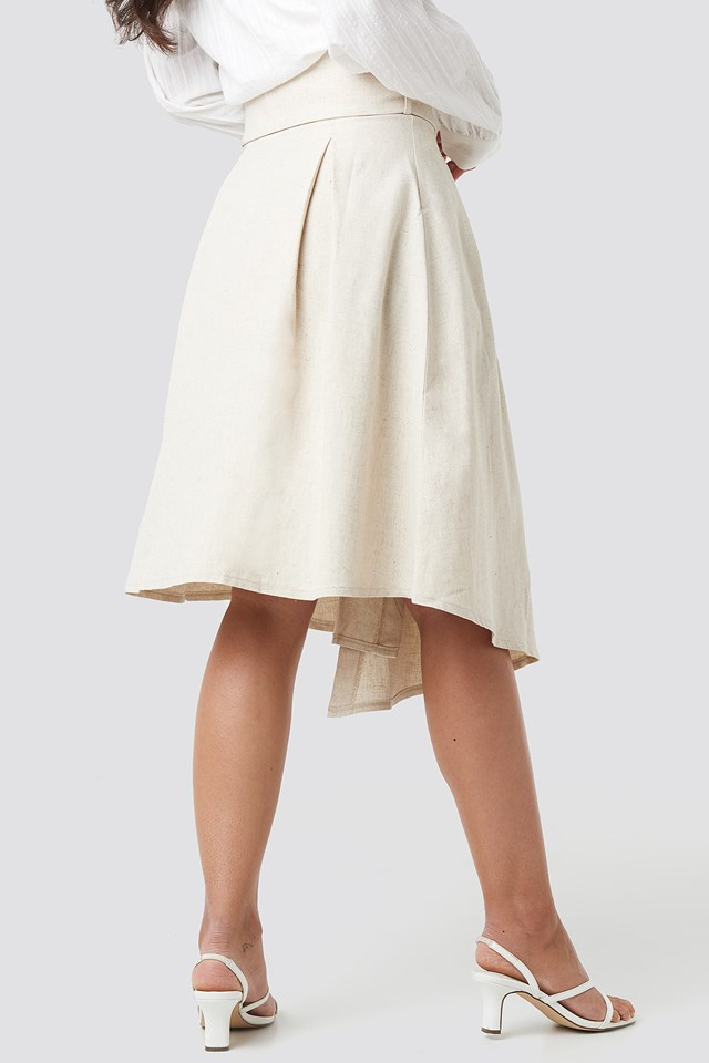 Wrap Over Linen Look Skirt Beige