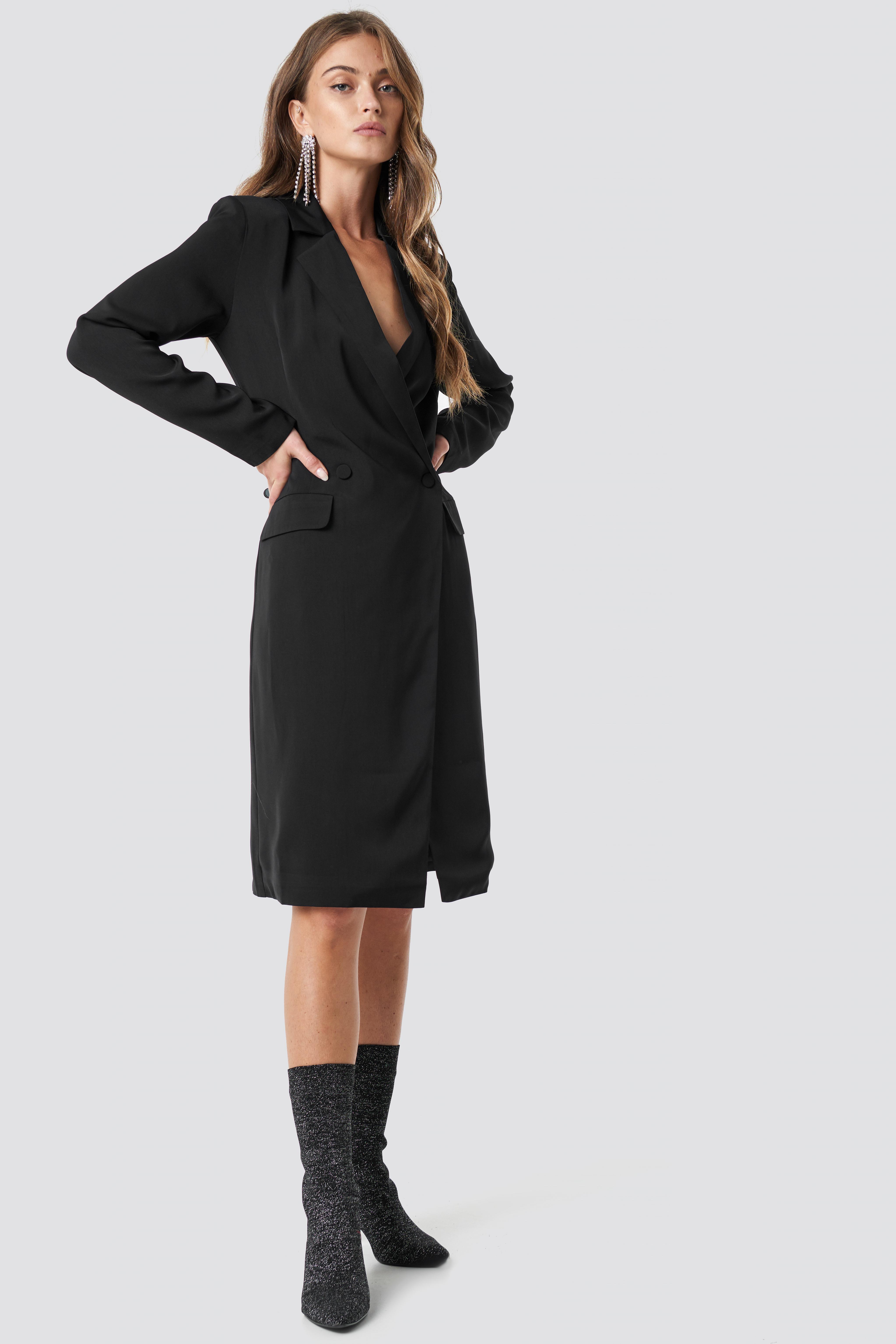 Wrap Over Midi Blazer Dress NA-KD.COM