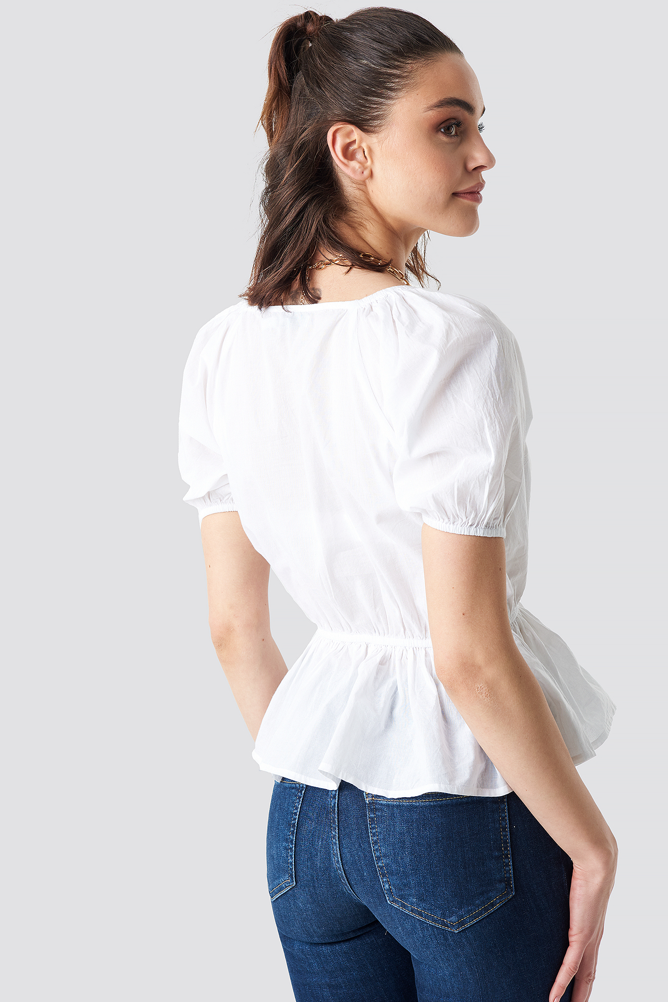 Wrap Over Puff Sleeve Top NA-KD.COM