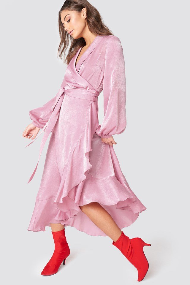 wrap over satin frill dress dusty pink