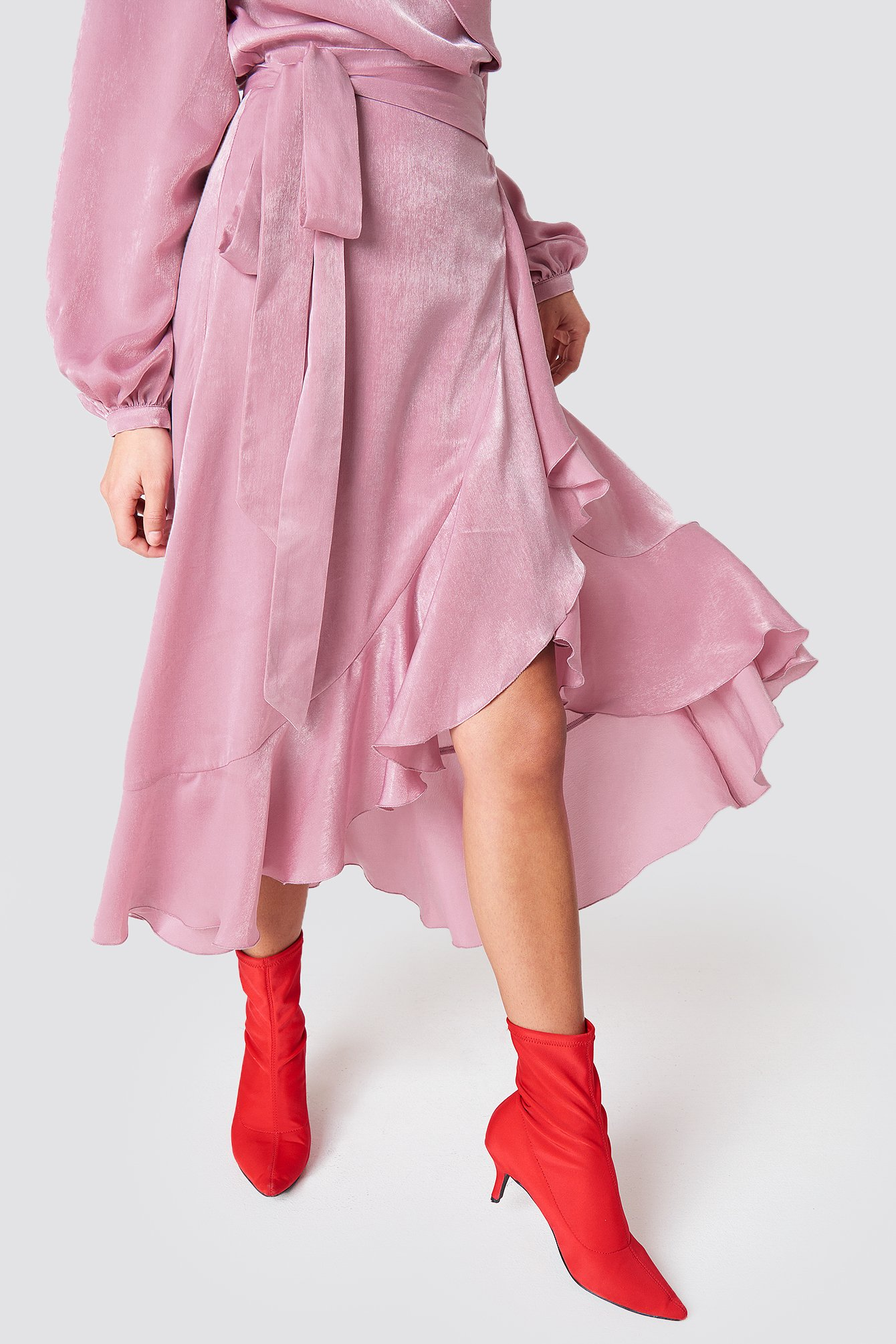 Wrap Over Satin Frill Dress NA-KD.COM