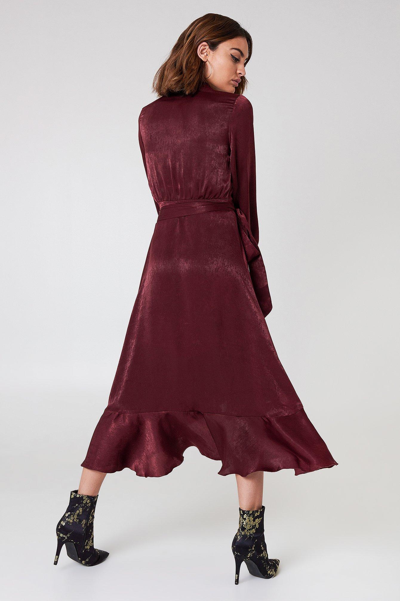Wrap Over Satin Frill Dress NA-KD.COM