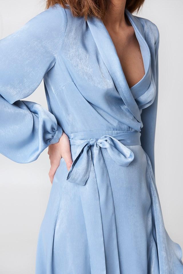 Wrap Over Satin Frill Dress Blue Stone