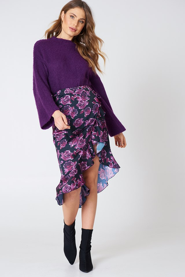 Wrap Over Satin Frill Skirt NA-KD.COM