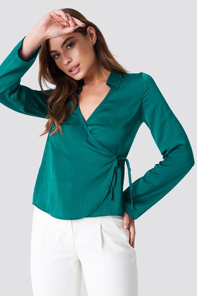 Wrap Over Satin Shirt NA-KD.COM