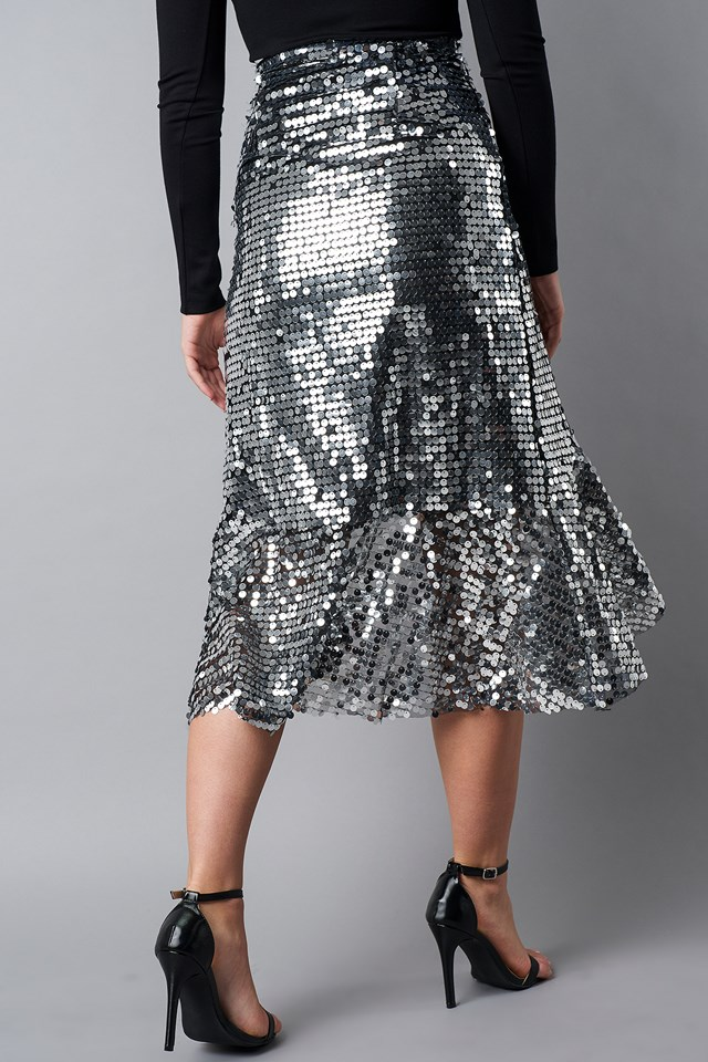Wrap Over Sequins Midi Skirt Silver