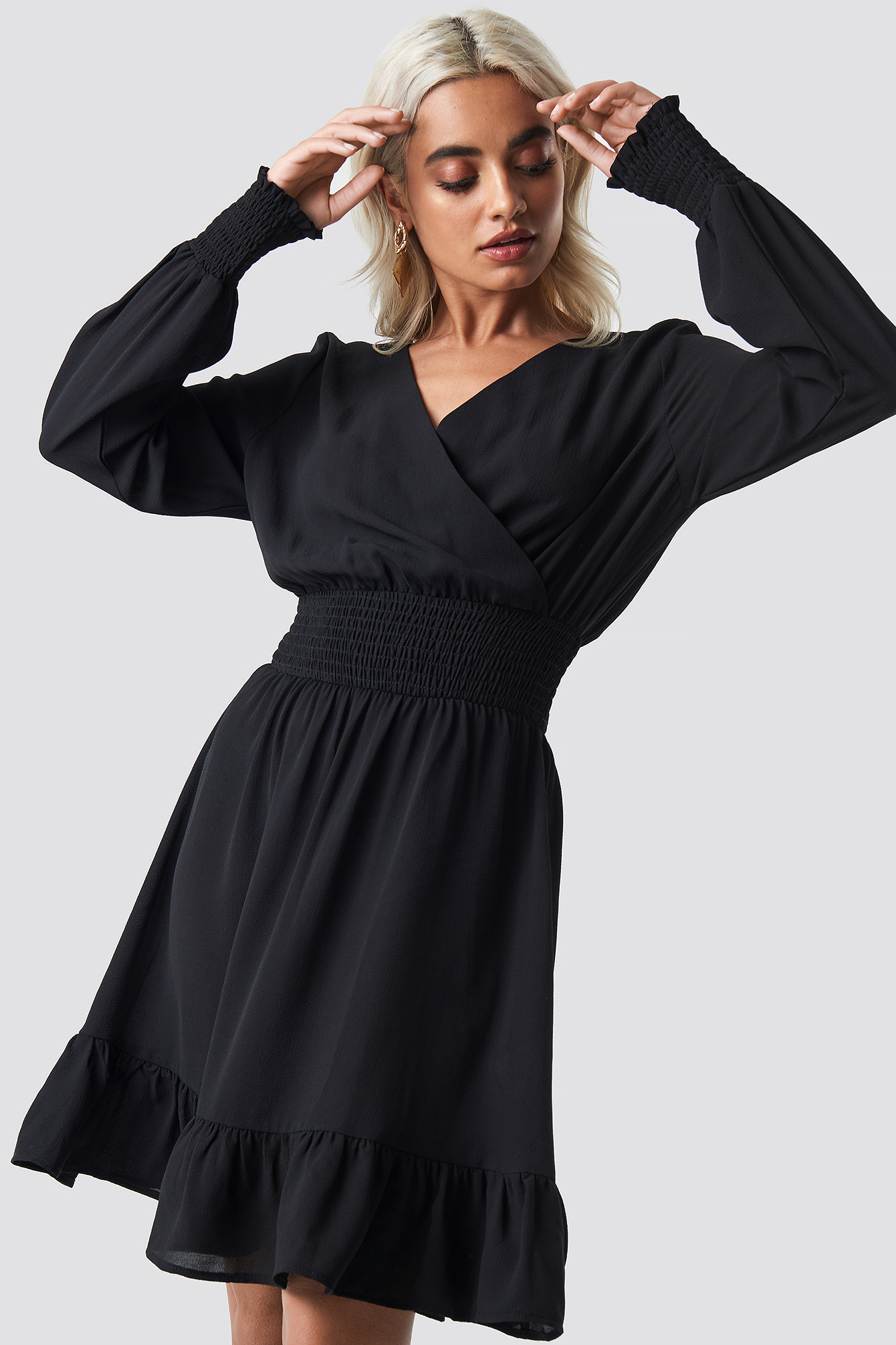 Wrap Over Smock Waist Dress NA-KD.COM