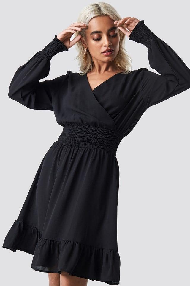 Wrap Over Smock Waist Dress Black
