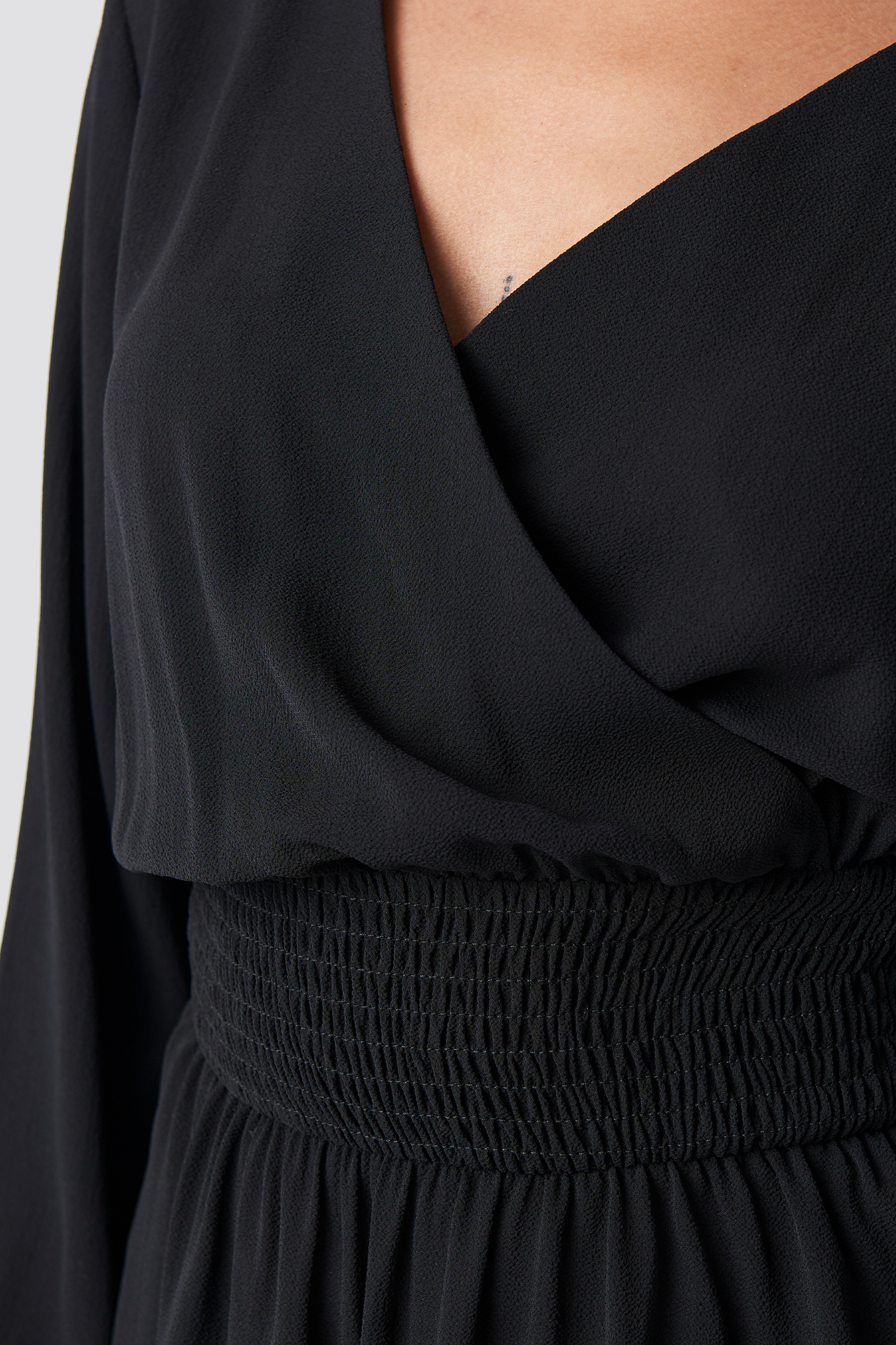 Wrap Over Smock Waist Dress NA-KD.COM