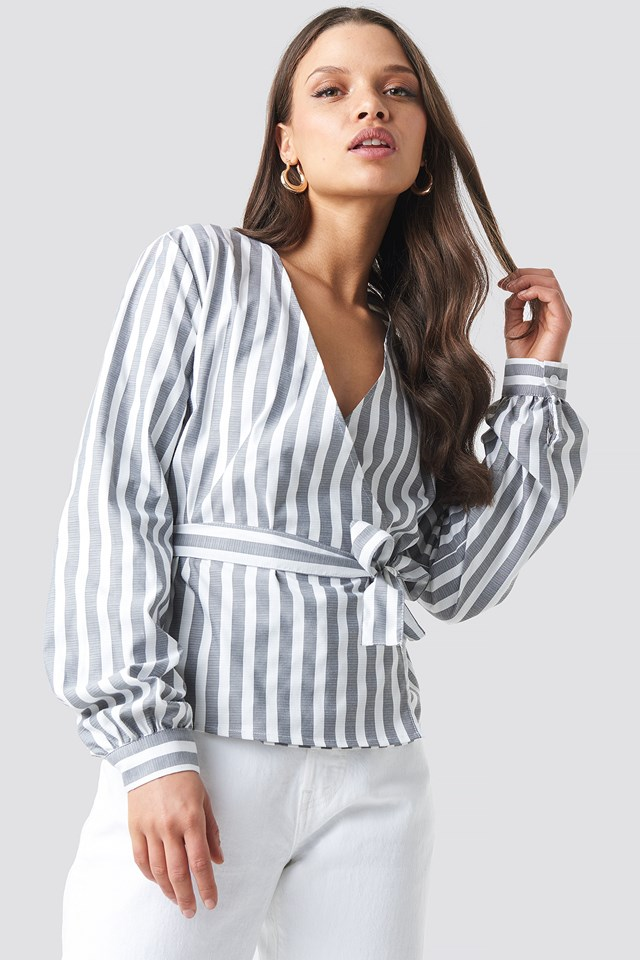 Wrap Over Striped Blouse Grey/White Stripe