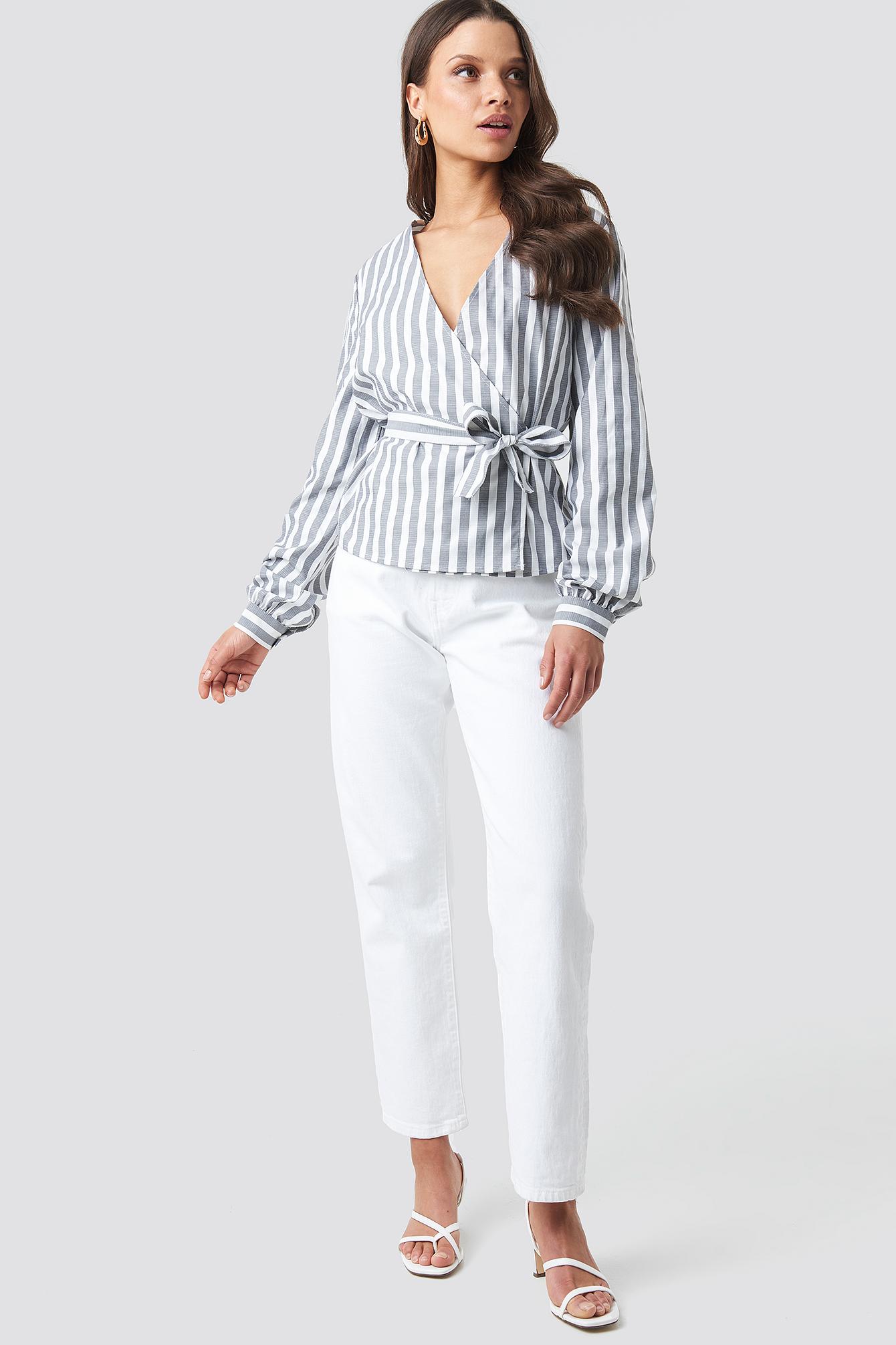 Wrap Over Striped Blouse NA-KD.COM