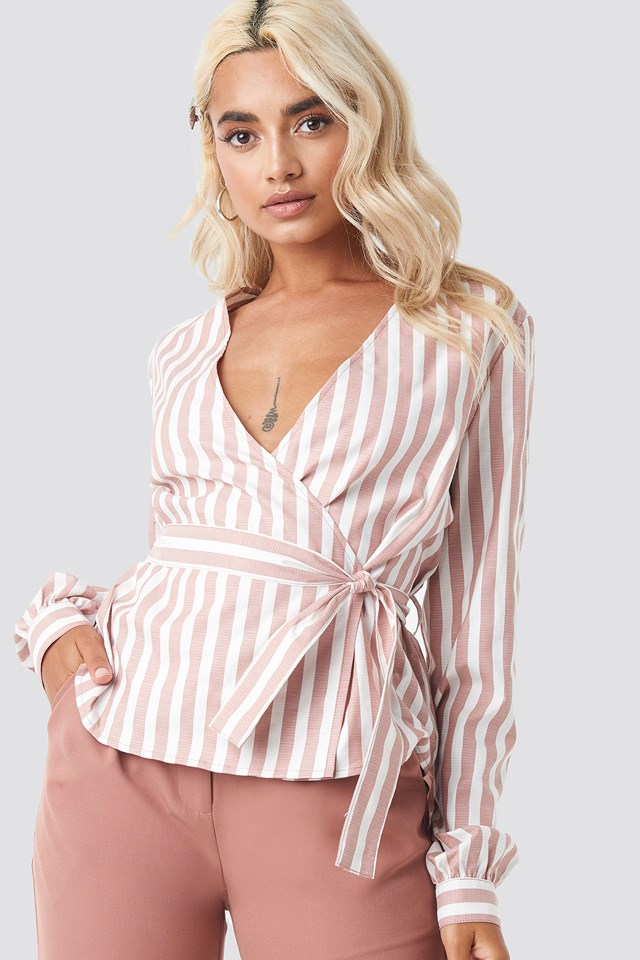 Wrap Over Striped Blouse Red/White