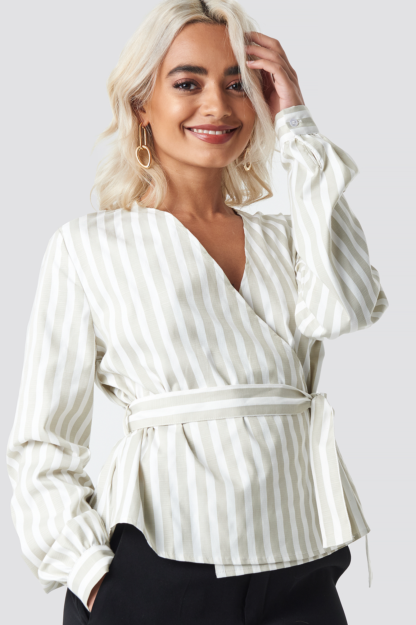 Wrap Over Striped Blouse NA-KD.COM