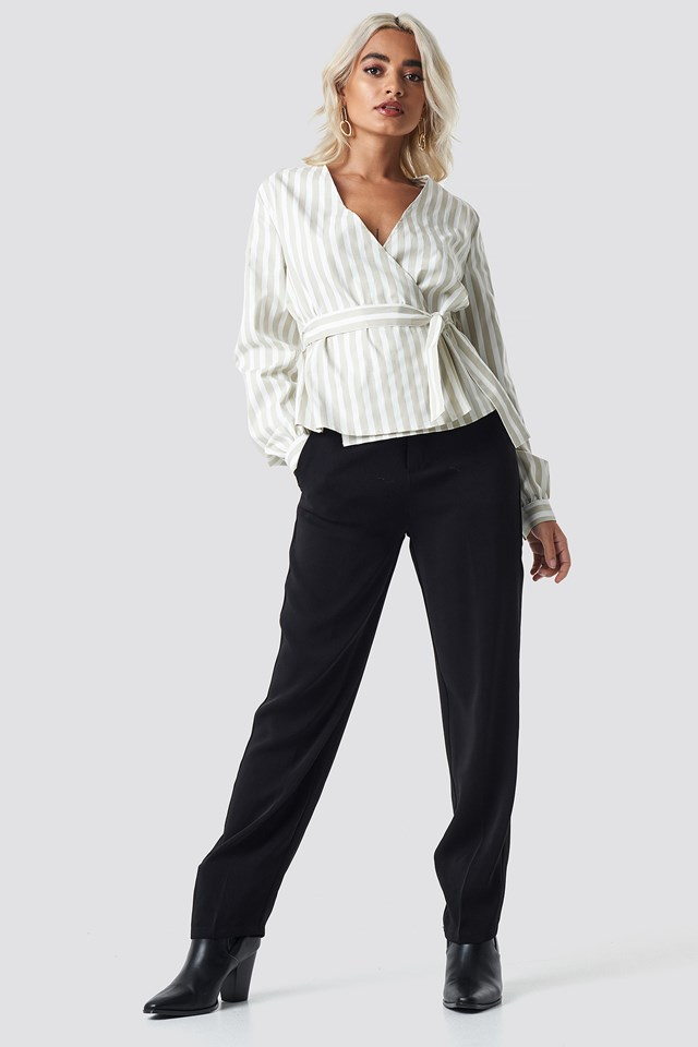 Wrap Over Striped Blouse Beige/White Stripe