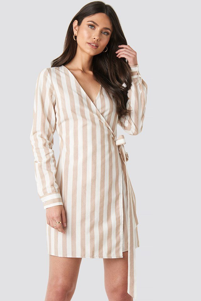 Wrap Over Striped Dress Beige